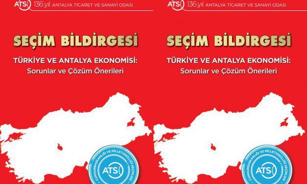 ATSO'dan Siyasilere Seçim Bildirgesi
